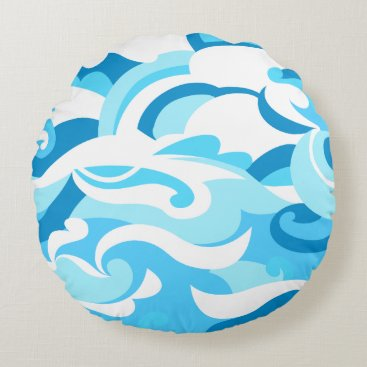 Beach Themed Abstract surf waves round pillow