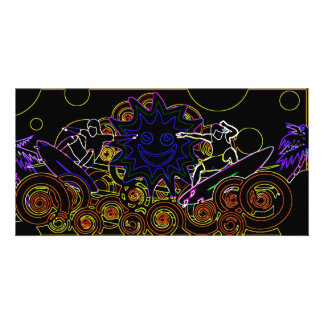 Abstract Surfers Picture Card