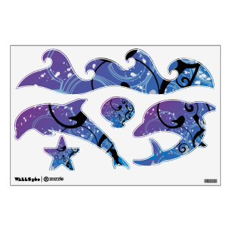 Abstract Swirl Dolphin Set Wall Sticker