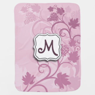 Abstract Swirl Floral Lavender Grapes and Monogram Baby Blanket