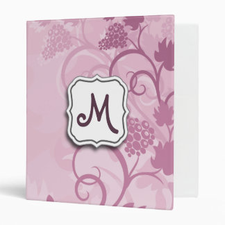 Abstract Swirl Floral Lavender Grapes and Monogram Binders