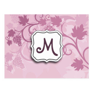 Abstract Swirl Floral Lavender Grapes and Monogram Postcards
