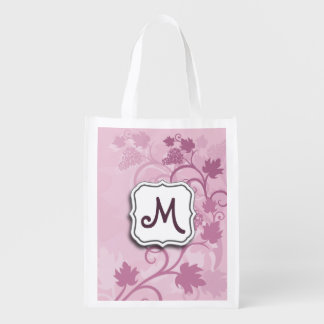 Abstract Swirl Floral Lavender Grapes and Monogram Reusable Grocery Bag