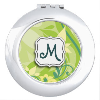 Abstract Swirl Floral Lime Green with Monogram Compact Mirror