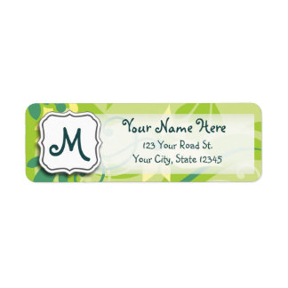 Abstract Swirl Floral Lime Green with Monogram Label