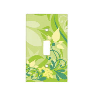 Abstract Swirl Floral Lime Green with Monogram Light Switch Cover