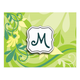 Abstract Swirl Floral Lime Green with Monogram Postcards