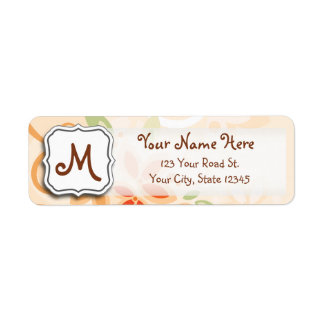 Abstract Swirl Floral Orange with Monogram Return Address Label