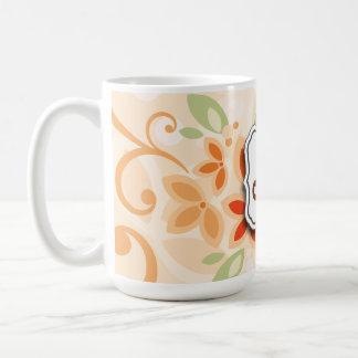 Abstract Swirl Floral Orange with Monogram Mug