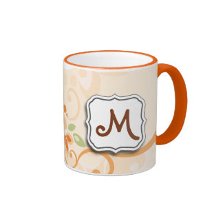 Abstract Swirl Floral Orange with Monogram Mugs