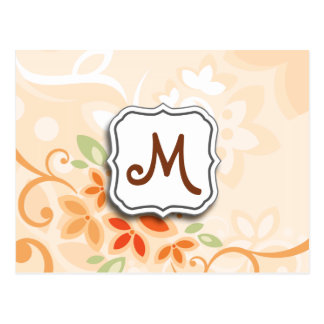 Abstract Swirl Floral Orange with Monogram Post Card