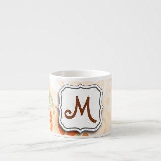 Abstract Swirl Floral Orange with Monogram Espresso Mugs