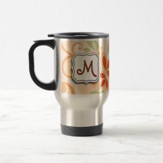Abstract Swirl Floral Orange with Monogram Travel Mug