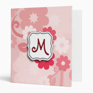 Abstract Swirl Floral Pink with Monogram Vinyl Binder