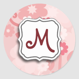 Abstract Swirl Floral Pink with Monogram Classic Round Sticker