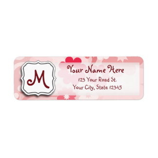 Abstract Swirl Floral Pink with Monogram Label