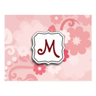 Abstract Swirl Floral Pink with Monogram Post Card