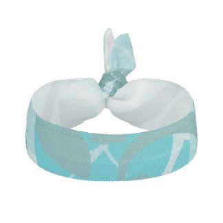 Abstract Swirl Floral Turquoise Elastic Hair Tie