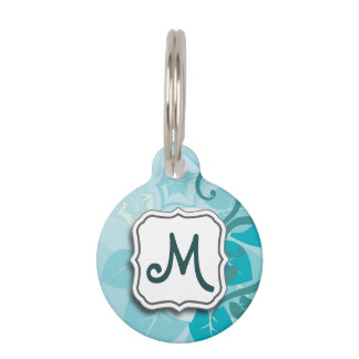 Abstract Swirl Floral Turquoise with Monogram Pet Name Tags