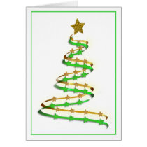 Abstract Swirl Gold and Green Christmas Tree Card