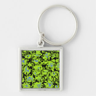 Abstract Swirl Silver-Colored Square Keychain