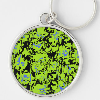 Abstract Swirl Silver-Colored Round Keychain