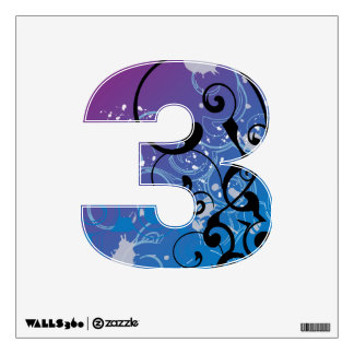 Abstract Swirl Numbers Wall Decal
