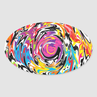 Abstract Swirl Oval Sticker