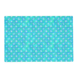 Abstract Swirl pattern - Blue, Jade green & White Laminated Placemat