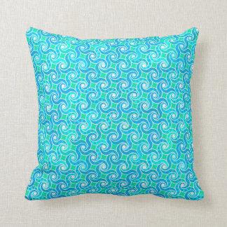 Abstract swirl pattern - blue, jade green & white pillows