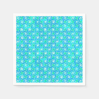 Abstract swirl pattern - blue jade green white paper napkins