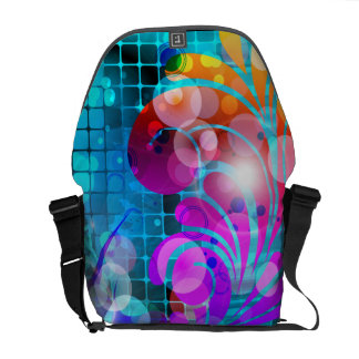 Abstract Swirl Scroll Grid Vector Graphic Messenger Bag