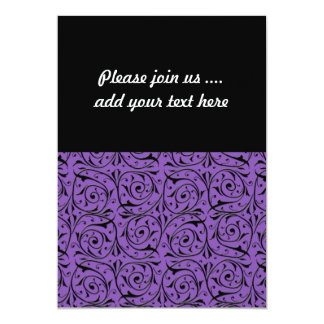 Abstract Swirling Vines Purple and Black 5x7 Paper Invitation Card