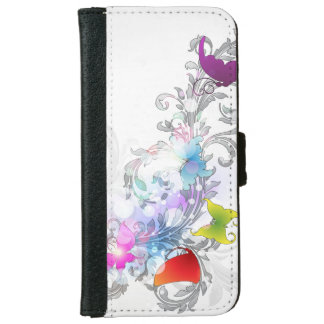 Abstract Swirls and Butterflies iPhone 6 Wallet Case
