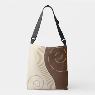 Abstract Swirls Beige Brown Modern Design Crossbody Bag