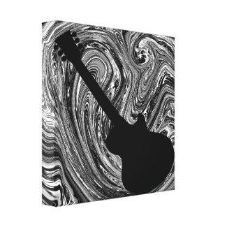Abstract Swirls Guitar Canvas Print, Black & White zazzle_wrappedcanvas