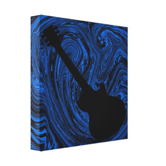 Abstract Swirls Guitar Canvas Print, Blue