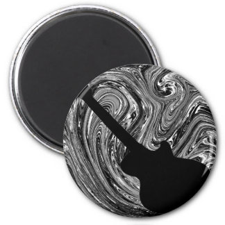 Abstract Swirls Guitar Magnet, Black & White 2 Inch Round Magnet