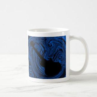 Abstract Swirls Guitar Mug, Blue Classic White Coffee Mug