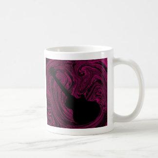 Abstract Swirls Guitar Mug, Magenta Classic White Coffee Mug