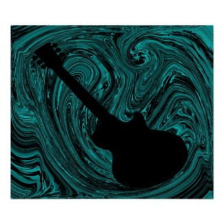 Abstract Swirls Guitar Poster, Teal