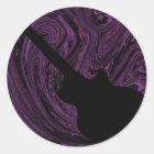 Abstract Swirls Guitar Stickers, Purple Classic Round Sticker