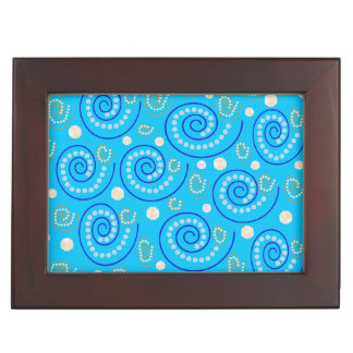 Abstract Swirls on Blue Keepsake Box