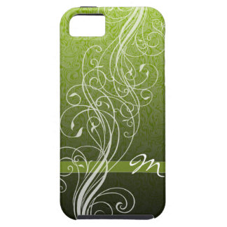 Abstract Swirls on bright green with Monogram iPhone SE/5/5s Case