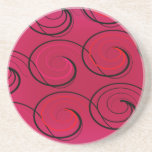 Abstract Swirls on Magenta Drink Coaster