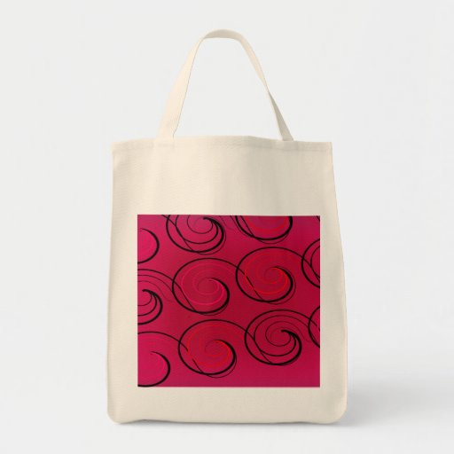 Abstract Swirls on Magenta Tote Bags
