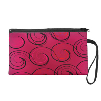 Abstract Swirls on Magenta Wristlet