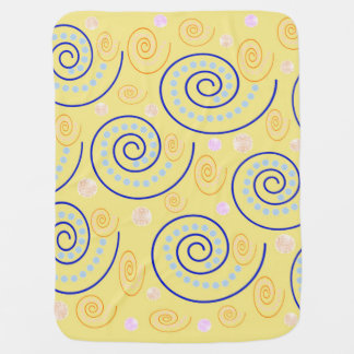 Abstract Swirls on Yellow Stroller Blanket