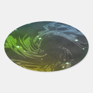 Abstract Swirls Oval Sticker