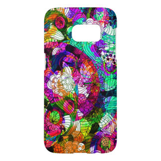 Abstract Swirly Colorful Retro Flowers Collage Samsung Galaxy S7 Case